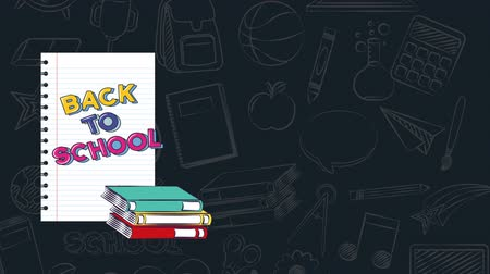 okula geri : Back to school video animation, colorful books and notebook