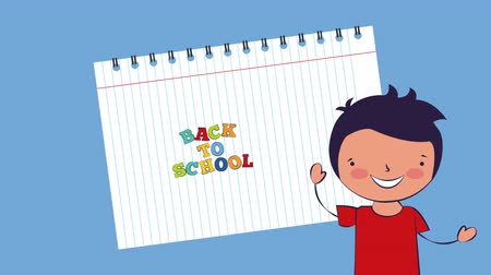 ayrılmak : little student boy character ,back to school 4k video animation