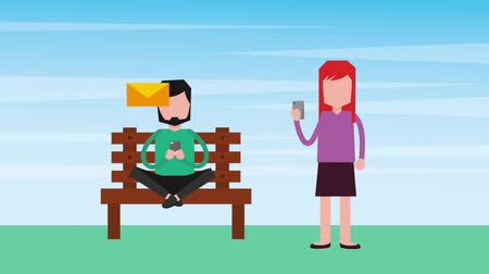 sending : man sending email woman with mobile animation hd