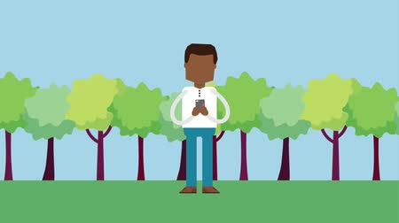 afroamerican : afroamerican man using mobile chat love in the park animation hd