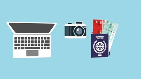 on camera : laptop camera passport tickets cellphone icons animation design