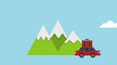 посещающий : car suitcase mountains clouds travel road trip icons animation design Стоковые видеозаписи