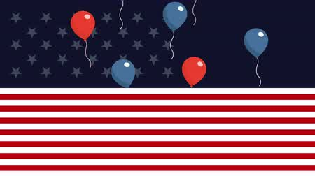 convite : labor day with USA flag and balloons helium ,4k video animation Vídeos