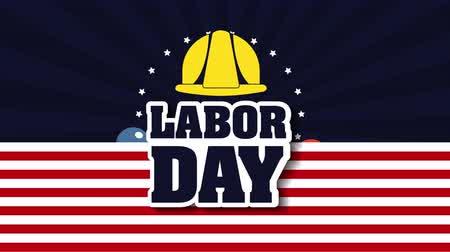 hardhat : labor day card with USA flag and font ,4k video animation