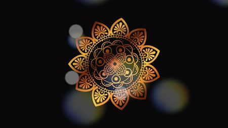индийский : ethnic golden mandala boho style ,hd video animation Стоковые видеозаписи