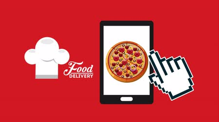 delivery food : delivery food ecommerce technology with tablet, hd video animation