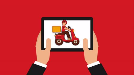 bolt : hands using delivery food ecommerce technology with tablet, hd video animation Stock mozgókép