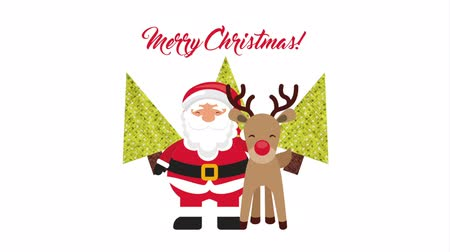 С Рождеством : merry christmas animation with santa claus and deer ,, hd video