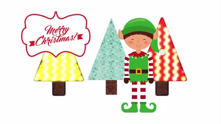 merry christmas animation with cute elf , hd video
