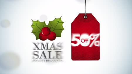fifty : merry christmas sale animation with half price tag , hd video