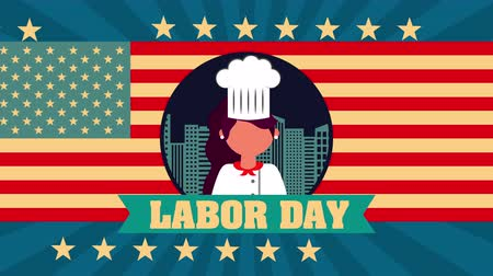 dag van de arbeid : labor day animation with female chef ,4k video Stockvideo