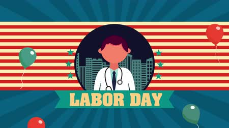 labor day animation with doctor character ,4k video