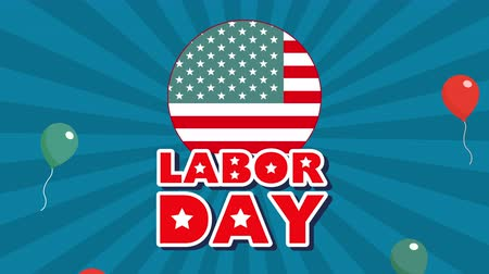 memorial day : celebration labor day with workers group animation ,4k video Stock Footage