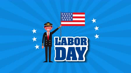 dag van de arbeid : celebration labor day with pilot animation ,4k video