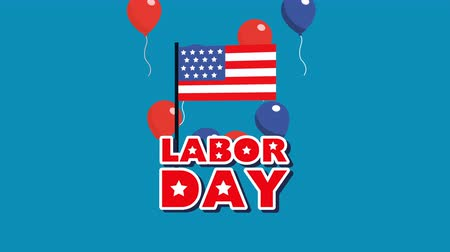 dag van de arbeid : labor day animation with flag and balloons helium ,4k video