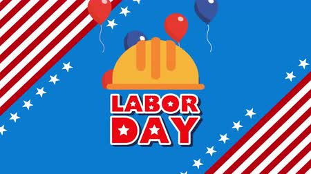 labor day animation with builder helmet and balloons helium ,4k video