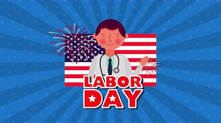 dag van de arbeid : labor day animation with doctor character ,4k video