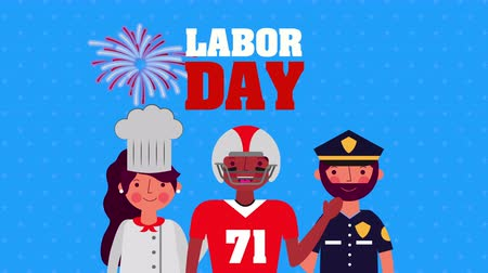мемориал : celebration labor day with workers group animation ,4k video Стоковые видеозаписи