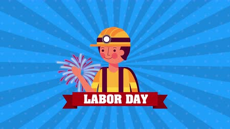 labor day animation with builder constructor ,4k video Wideo