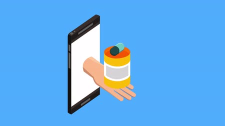 telemedicine : tele medicine technology with smartphone and bottle drugs ,4k video animation Stock Footage
