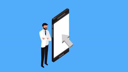 telemedicine : tele medicine technology with smartphone and doctor ,4k video animation