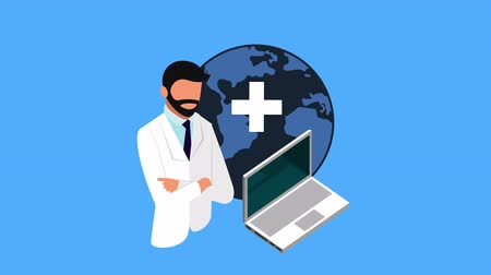telemedicine : tele medicine technology with laptop and doctor ,4k video animation