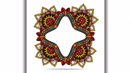 medaillon : etnische mandala boho stylestar frame, hd video-animatie Stockvideo