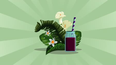 leafs : fresh tropical juice fruit , hd video animation