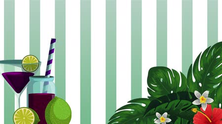 limão : fresh tropical juice fruit and cocktail , hd video animation