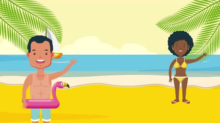 klipart : interracila couple in summer time characters,4k video animation
