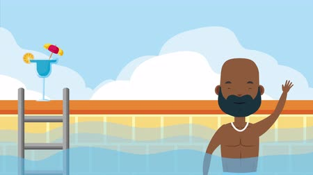 fürdőzés : young afro man in the pool summer time ,4k video animation