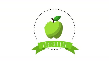 healthy lifestyle with apple animation , 4k video animation