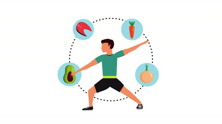 athlete with healthy lifestyle icons animation , 4k video animation