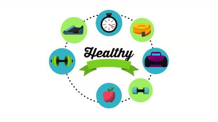 healthy lifestyle with set icons animation , 4k video animation
