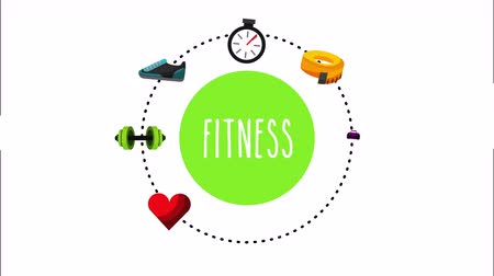 хронометр : healthy lifestyle with set icons animation , 4k video animation