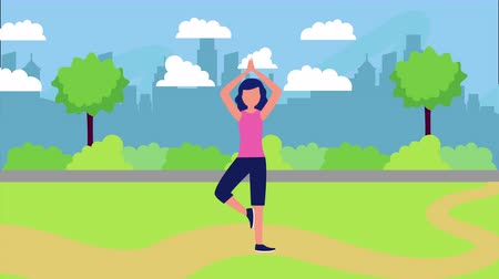 female athlete on the park with healthy lifestyle , 4k video animation