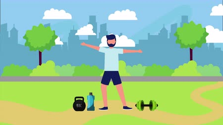 athlete on the park with healthy lifestyle , 4k video animation