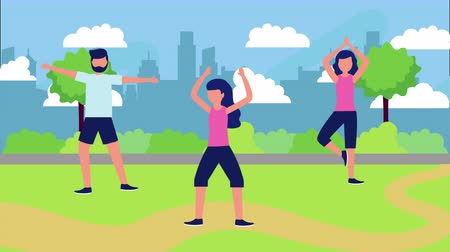 awatar : group athletes on the park with healthy lifestyle , 4k video animation