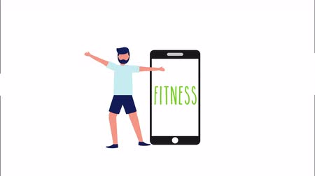 awatar : healthy lifestyle with smartphone and male athlete , 4k video animation