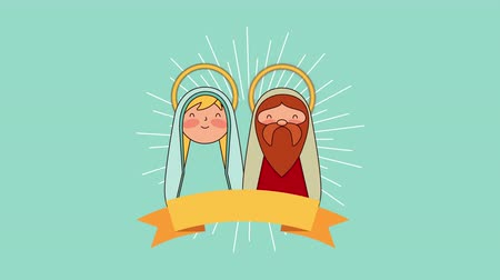saint joseph and mary manger characters , 4k video animation Wideo