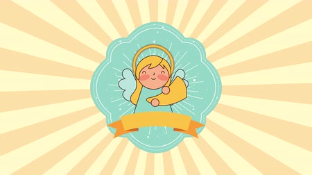 trumpet : cute little angel manger character , 4k video animation Stock Footage
