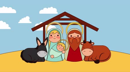flâmula : cute holy family in stable with animals manger characters , 4k video animation