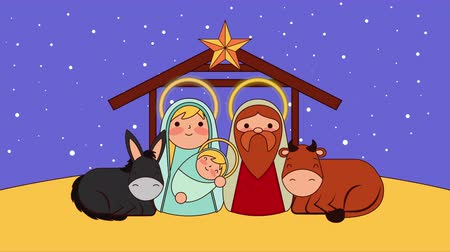 mary : cute holy family in stable with animals manger characters , 4k video animation