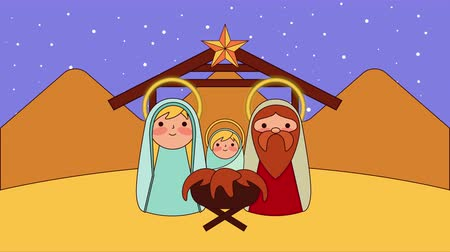 virgem : cute holy family in stable manger characters , 4k video animation