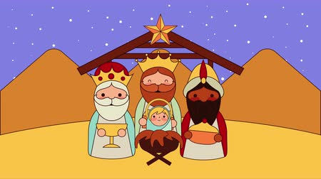 moudrý : cute wise men in stable manger characters , 4k video animation Dostupné videozáznamy