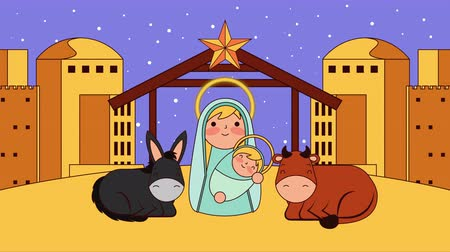 降誕 : mary virgin and jesus baby manger characters , 4k video animation 動画素材
