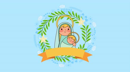 adwent : mary virgin and jesus baby manger characters , 4k video animation Wideo