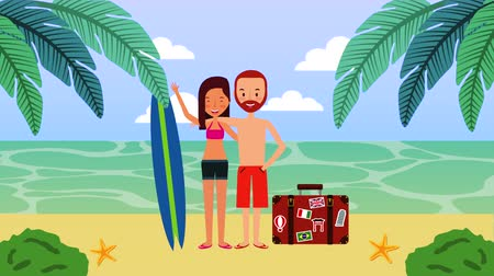 surfplank : summer time vacations with couple on the beach , 4k video animation Stockvideo