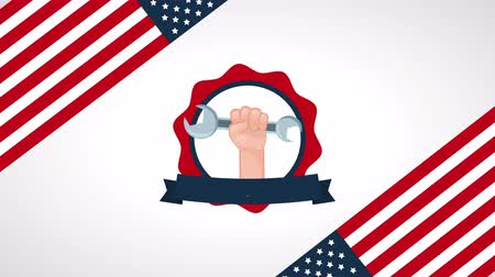 impressão digital : usa labor day celebration with hand lifting wrench ,4k video animation