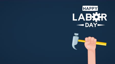 impressão digital : usa labor day celebration with hand lifting hammer ,4k video animation Stock Footage